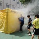 中3・高1生による煙の中の移動体験